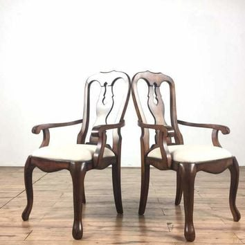 Suite of Eight Pottery Barn French Rococo Style Mahogany Dining Chairs