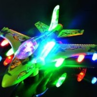 WolVol Electric F16 Military Fighter Jet Aircraft Airplane Toy with Beautiful Attractive Flashing Lights and Loud Music, goes around and changes directions on contact (Battery Powered) - Great Gift Toys for Kids