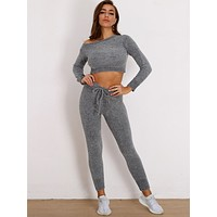 Joyfunear Chenille Knit Crop Sweater & Drawstring Pants Set
