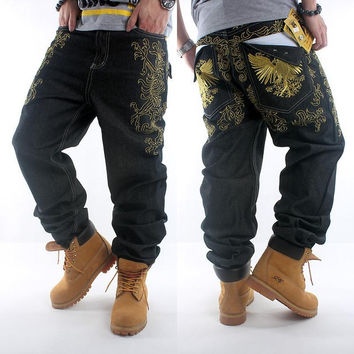 New Hip Hop Jeans Gold Flowers Embroidered Dance Skateboard Men Jeans Homme Metrosexual Baggy Jeans Skateboard Hipster Pants