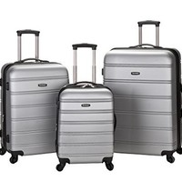 Rockland Luggage Melbourne 3 Piece Abs Luggage Set, Silver, Medium