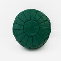 Moroccan Leather Pouf, Hunter Green