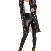 Star Print Long Sleeve Duster Kimono by Charlotte Russe