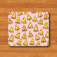 Cartoon Funny PINK PIZZA Mouse Pad Seamless Pattern Soft Fabric MousePad Work Desk Computer Pad Person Customized Gift Pizza Food Decorate