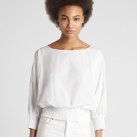 Smocked Detail Balloon Sleeve Blouse | Gap
