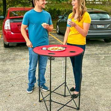 Adjustable Height Tailgating Table Cup Holders Picnic Camping Beach Red Black
