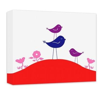 Little Birdies with Flowers Children's Canvas Wall Art