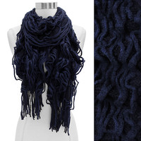 Navy Two-Toned Double Layer Knit Scarf