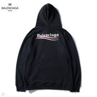 Balenciaga 2018 autumn new back wavy hooded sweater black