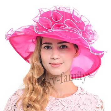 Easter elegant lady derby church dress hat organza Formal sunhat S020