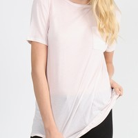 Lightweight Pocket Tunic Tee - Light Pink