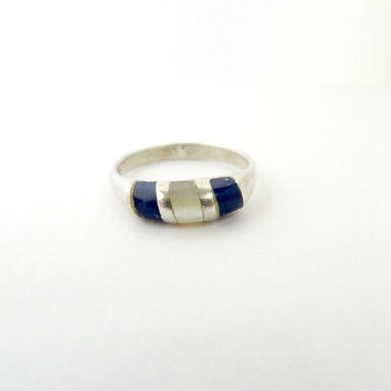 Vintage Sterling Silver Lapis MOP Inlay Stripe Ring Size 5.75
