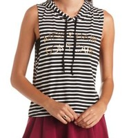 Messy Hair, Don't Care Striped Sleeveless Hoodie