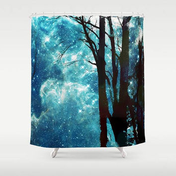 Night Sky Shower Curtain  -  trees, stars, night sky galaxy, solar system, galaxies, blue teal sky,  bathroom decor, home