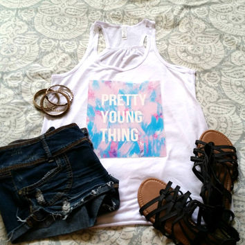 Pretty young thing quote racerback tank top for tween girls, teen girls, and ladies