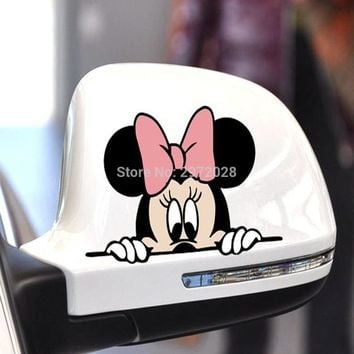 Hot Selling Cartoon Car Styling Funny Minnie Climbing Window Peering Car Rear View Mirrors Whole Body Stickers Decal Vinyl