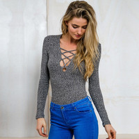 Women Cardigan Knit Sexy Slim Slim Fit Strappy V Neck Erotic Top _ 11546