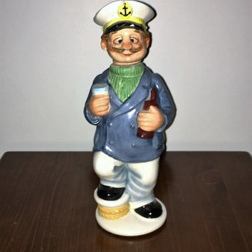 Vintage 1980s Drunken Sailor Ceramic Whiskey Decanter / Tipsy Sailor Captain / Retro Kitsch Sailor Decanter