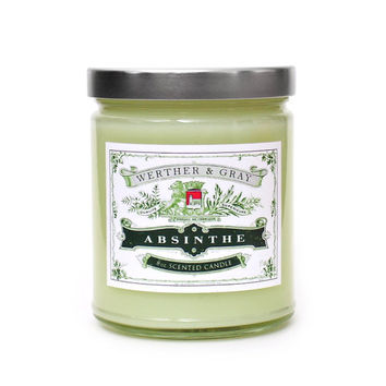 ABSINTHE, Scented Candle, 8oz Soy Blend, Retro Vintage Victorian Style, Goth Gothic, Anise Herbal Fragrance, Green Fairy, History Candle