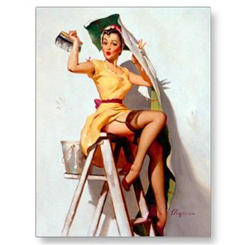 Vintage Retro Gil Elvgren Pin Up Girl Postcards from Zazzle.com