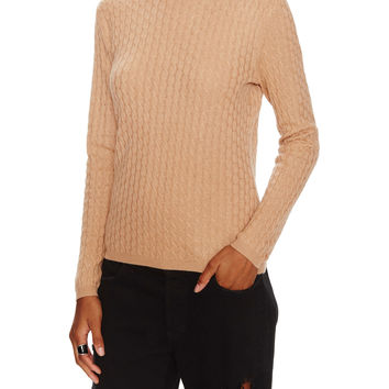 In Cashmere Women's Cashmere Cable Knit Sweater - Camel -