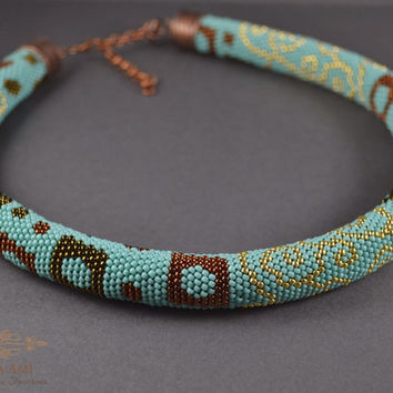 Jewelry, Necklace, Beadwork Beaded Necklace - Beaded Crochet Neckalce