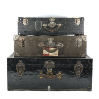 Vintage Stack of Suitcases / Vintage Suitcases / XL Stack Of Suitcases