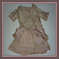 Antique Doll Dress - Pale Pink With Lace - As Found (item #1293104)