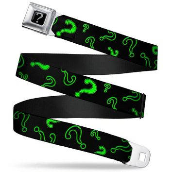 "Riddler ""?"" Black Silver Question Mark Scattered2 Black Neon Green Webbing Seatbelt Belt Standard"