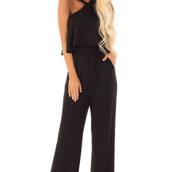 Obsidian Black Halter Jumpsuit with Overlay Detail
