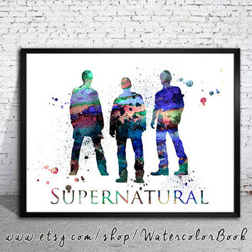 Supernatural Watercolour Painting Print, watercolor painting,watercolor art,Illustration,Supernatural poster, Celebrity Portraits, art print