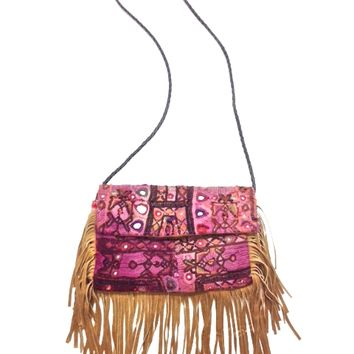 Bohemian style hand stitch tapestry-like-embroidered embellished crossbody bag, genuine suede fringe trim, multi colored(purple,red,olive,brown, black) & mirrors accents throughout. Inside features one zip and tow slip pockets. Non-adjustable woven black c