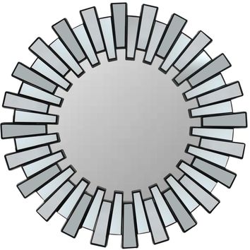 "25.5"" Aztec Inspired Sparkling Sunburst Matte Black Decorative Round Wall Mirror"