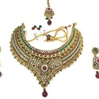 Bollywood Style Beautiful Trendy Red Green White Stone Gold Plated Kundan Polki Necklace Earring Sets | Mogul Interior