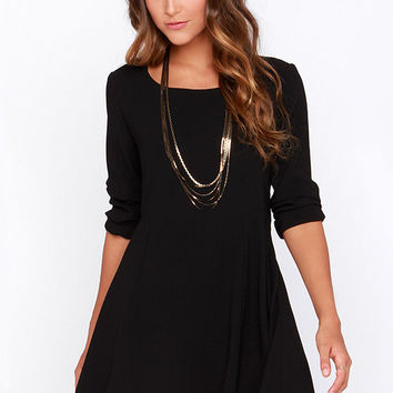 Kill the Lights Black Long Sleeve Dress