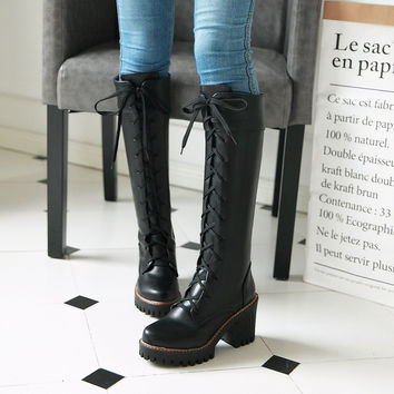 Women Lace Up Knee High Boots High Heels Motorcycle Boots Chunky Heel 3176