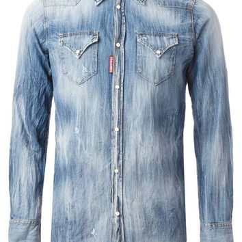 DCCKIN3 DSQUARED2 distressed denim shirt