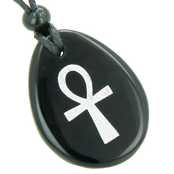 Egyptian Power of Life Spiritual Ankh Amulet Black Agate Pendant Necklace
