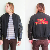 vintage jacket / letterman jacket / Pulp Fiction / 1990s black leather Pulp Fiction promo jacket L