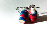 Red White and Blue wooden disc earrings, wooden earrings, disc earrings, red blue earrings, patriotic earrings, dangle earrings