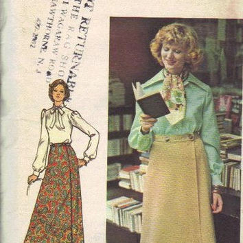Butterick 70s Sewing Pattern Maxi Wrap Skirt Day Evening Length Boho Fashion Uncut FF Plus Size Waist 34