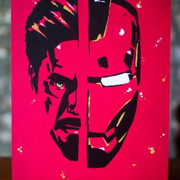 Iron Man Tony Stark Painting - Red Tone Iron Man Wall Art Tony Stark Painting - Original Artwork on Art Board