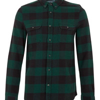 Green Buffalo Check Long Sleeve Flannel Shirt- TOPMAN USA
