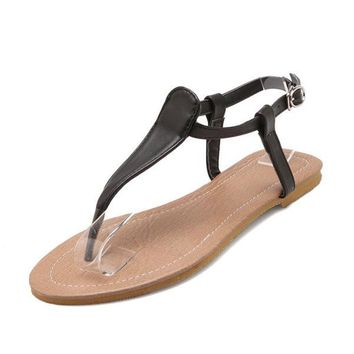 Pure Color Flip Flops T Shape Flat Beach Sandals For Women