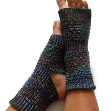 ON SALE Toeless Yoga Socks Hand Knit in Make Believe Pedicure Pilates Dance