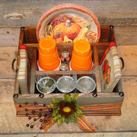 Thanksgiving Table Caddy, Napkin Holder, Paper plate holder, Utensil Holder, Picnic Box, Camping Box, Serving Tray, Place Setting Tray