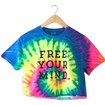 Free Your Mind. Bright Rainbow Tie-Dye Graphic Cropped Tee