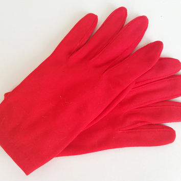 Red Gloves Vintage Gloves 50s 60s Gloves Short Gloves Party Gloves Chrurch Gloves Womens Gloves Size 6-7 Short Red Gloves Costume Gloves