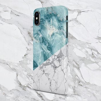 iPhone X case - iPhone 8 Plus - Protective iPhone Case - Galaxy s8 case - Google Pixel 2 Case - Geometric Teal x White Marble Phone Case
