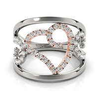 Diamond Heart 0.39 ct Fashion Ring 14k Two Tone Gold-Allurez.com